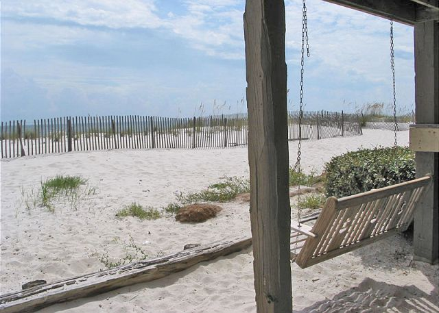 Relax and enjoy the beach view from one of Sandpiper's swings.