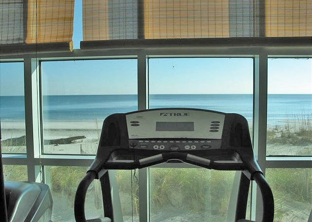 Beach view from fitness room.