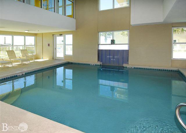 Indoor swim-thru pool to outdoor pool.