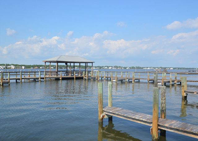 Sea Oats boat dock and pier area.
