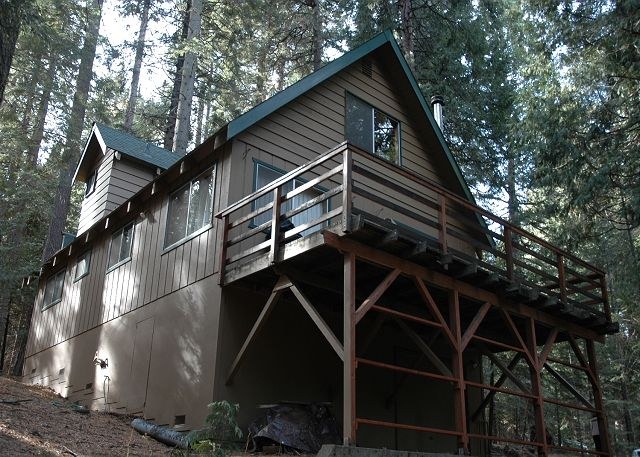 Hicks tree Fort offers a great deck to BBQ, relax and take in the forest.
