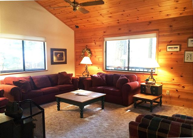 This Great Room has beautiful, knotty-pine, vaulted ceilings.