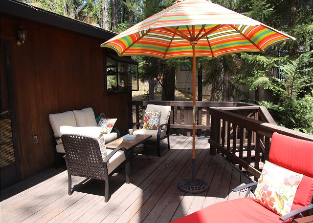 Enjoy the mountain air while you dine on the beautiful deck.
