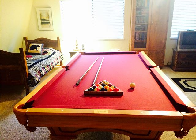 Game room!  Billiards, books, TV... Twin bed and sofa in this room.