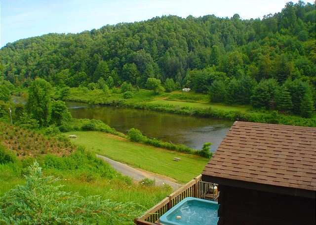 Perched on the hillside, this cabin has great river views.