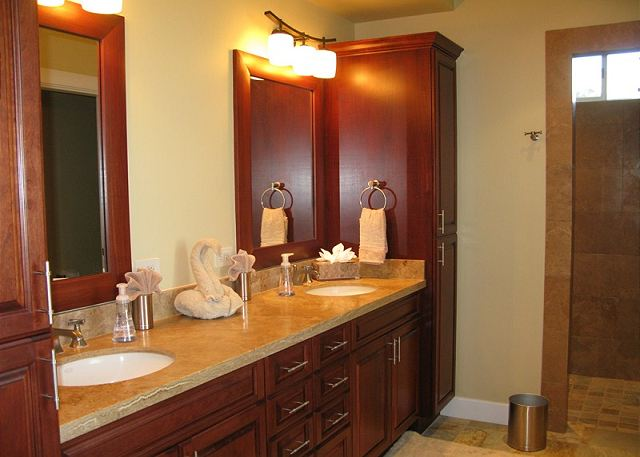 This ensuite master bath has a walk in shower and separate soaking tub.