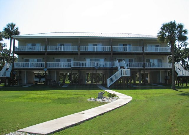 Hammock by the Bay Towhhomes as seen from St. Joseph Bay. Hammock Cove is the center unit.