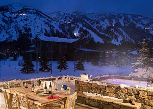 Patio/Hot Tub - Four Pines - Teton Village Luxury Cabin Rental