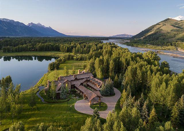 Aerial - Royal Wulff Lodge - Luxury Villa Rental Jackson Hole