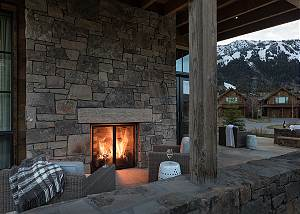 Outdoor Fireplace - Fish Creek Lodge - Teton Village Luxury Cabi