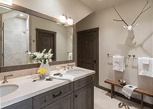 Bunk Room Bathroom- Fish Creek Lodge - Teton Village Luxury