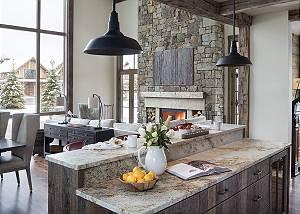 Kitchen Island - Fish Creek Lodge - Teton Village Luxury Cabin