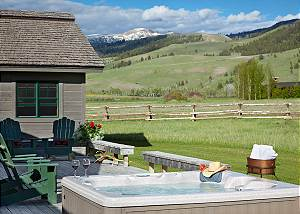 Back Deck/Hot Tub - Elk Refuge -  Jackson Hole Luxury Cabin