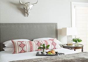 Master Bed -  Pines Garden - Jackson, WY Luxury Rental Cottage
