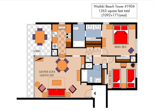 Waikiki Beach Tower 48 Waikiki Vacation Rentals Awesome 2 Bedroom Suite Waikiki Exterior Plans