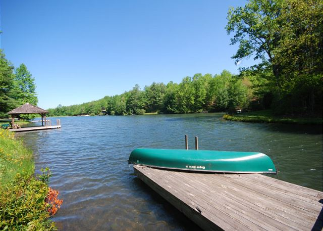 View of Dock at Water's Edge, A Lake Front Vacation Rental Home in Connestee Falls, Brevard, NC