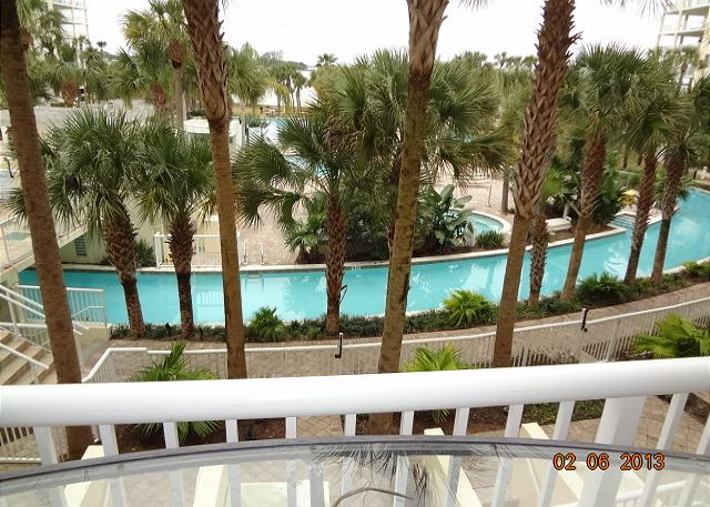 Check out the happenings at the lazy river from the porch.