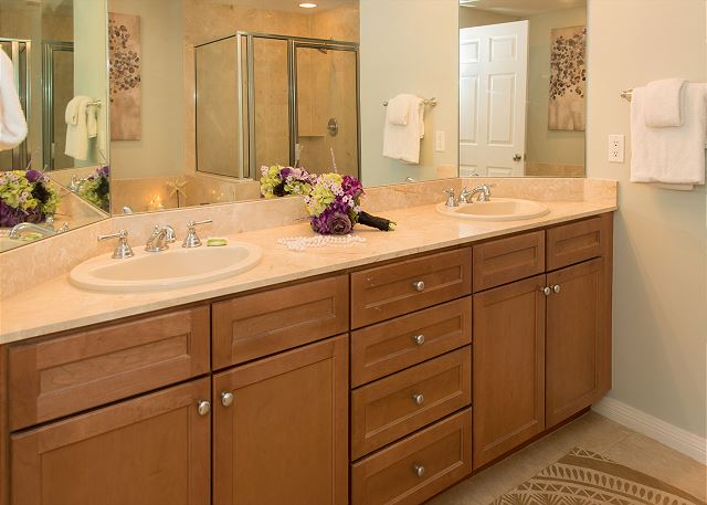 Master Bathroom Double Vanity with Private Commode Room
