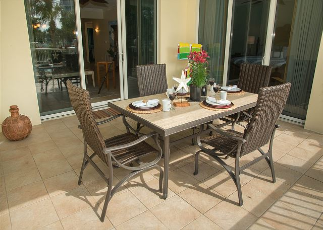 Patio Dining Area with Living Room Door or Private Master Bedroo