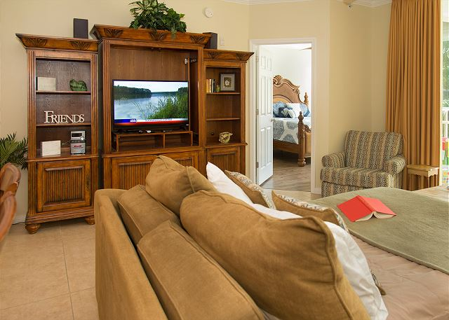 Living Room with Full Sleeper Sofa and entertainment Center