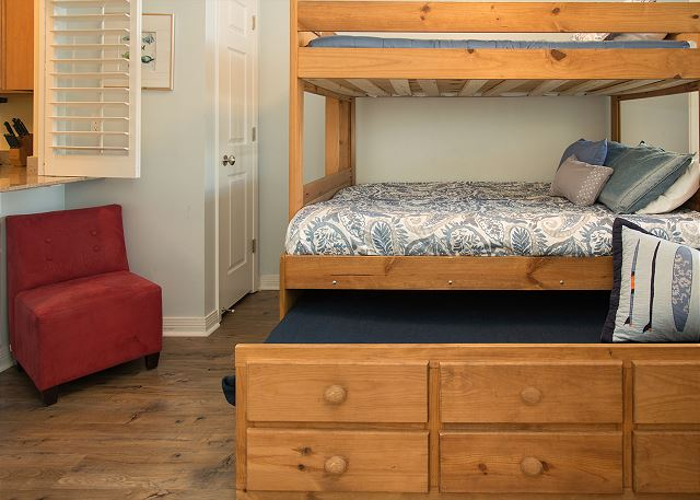 Front Right Bunk Bedroom with closet and Television