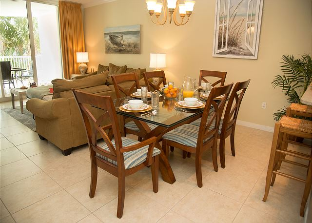 Dining Area with Large Dining Table and Breakfast Bar