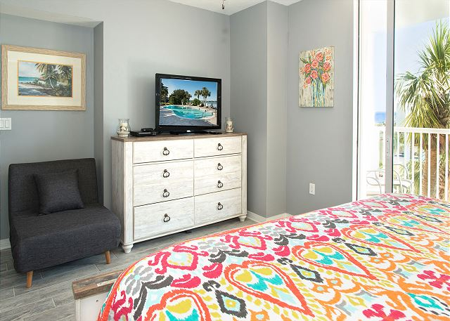 Chair in Master Bedroom folds out to a twin bed.  So your little one can sleep in the same room as you but on their own bed.