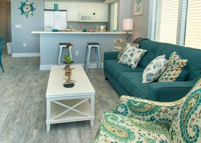 Living room has a sleeper sofa with bed linens furnished for your use.
