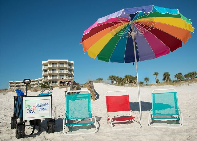 All of our guest have free access to beach wagons and chairs for their use on the beach