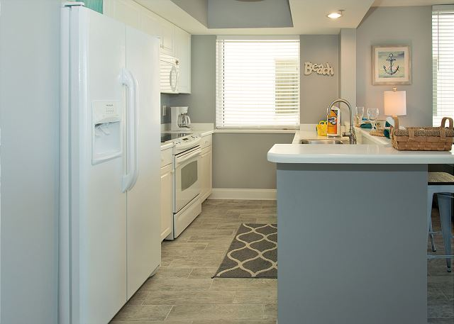 The kitchen is furnished with everything needed for that meal away from home.