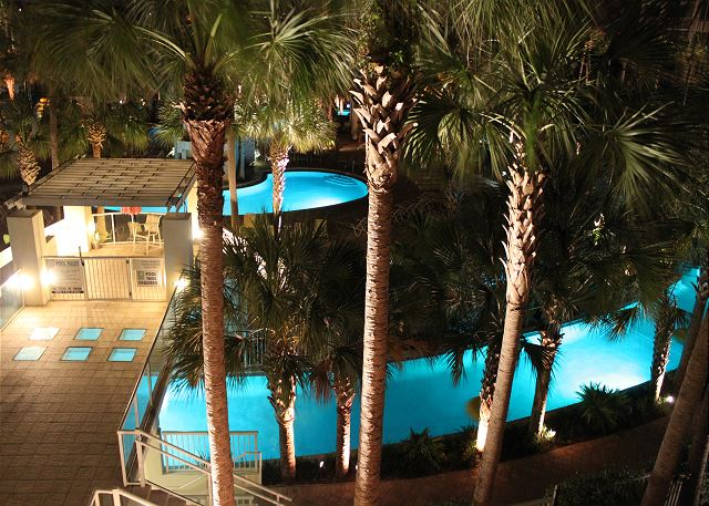 Sit on your balcony and enjoy the rotating lazy river lights at night.