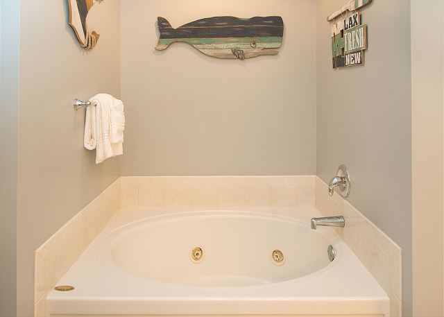 Relaxing whirlpool tub in master bath