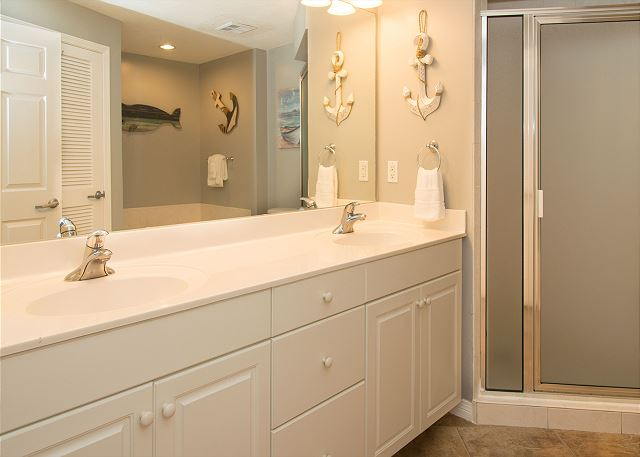 Master bath double sinks and shower