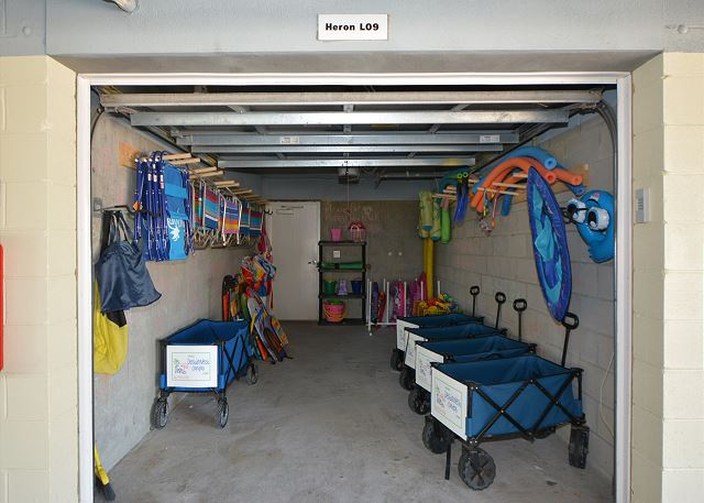 We furnish a garage full of beach toys, chairs, wagons and umbrellas for our guest to use.