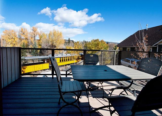 Outdoor dining table now seats 6. First level patio with views of the historic train and Animas River