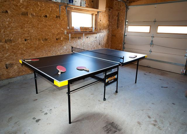 Ping-pong table in garage