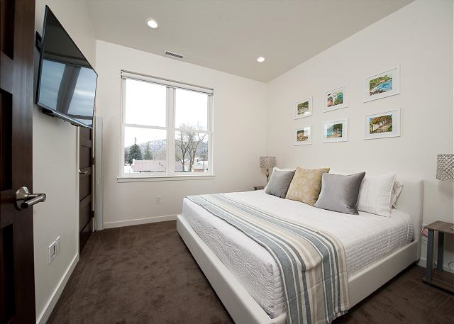 Second bedroom with king size bed and TV