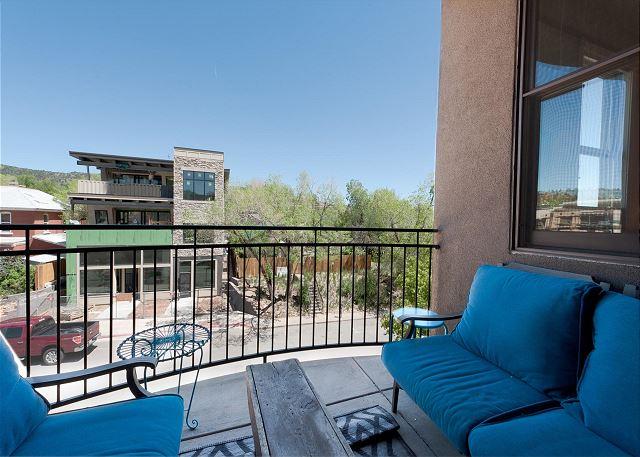 Outdoor deck overlooking 2nd Avenue in Durango
