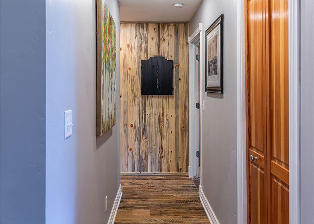 Dart board in the hallway