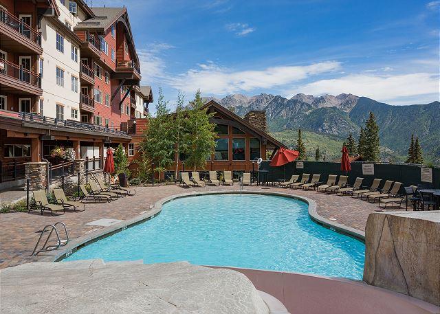 Durango Mountain Club heated pool with slide at Purgatory Lodge.