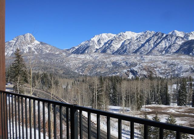 Mountain views off the back patio at Peregrine Point 108 located at Purgatory Ski Resort