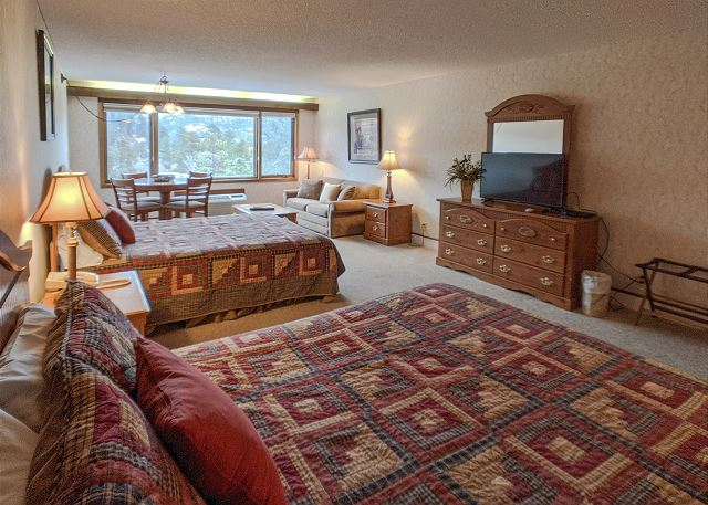 Condo rental in Durango, CO. Studio condo with two queen beds and sleeper sofa.
