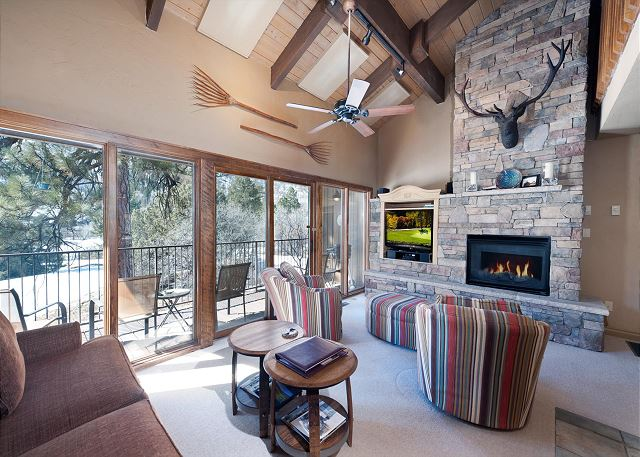 Living Room with Large Deck, Fireplace