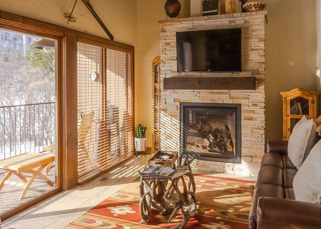 Fireplace in Living Room - Big Deck