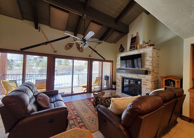 Living Room with Fireplace and Big Deck