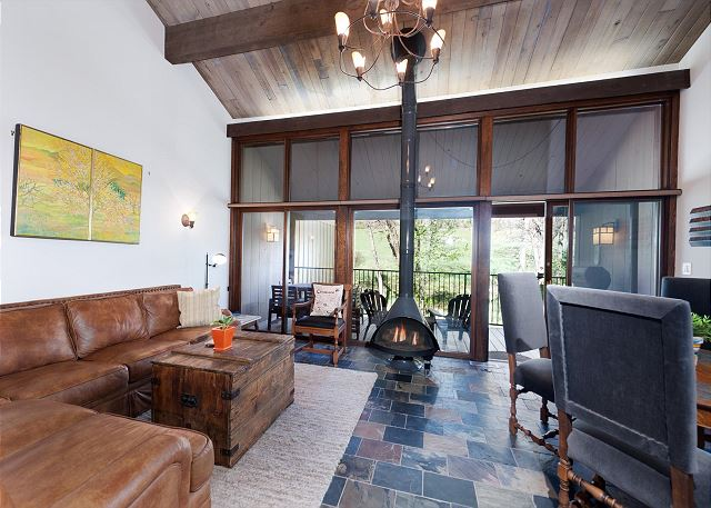 Living Space with Fireplace and Deck