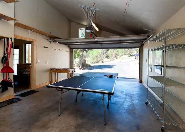 Ping pong and Foosball table in the garage