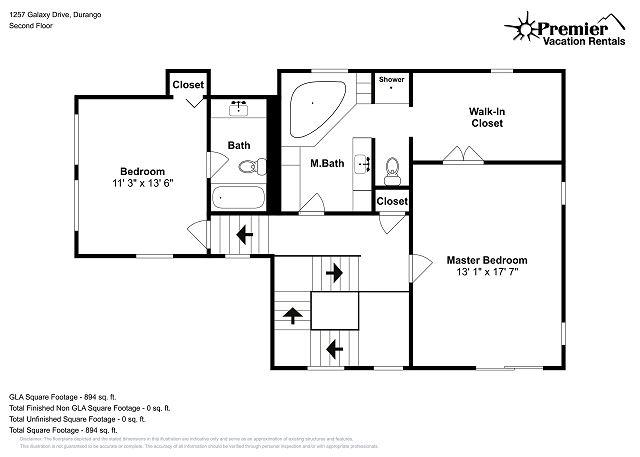 Floorplan of Vacation Rental Home - 1257 Galaxy Drive in Durango, CO