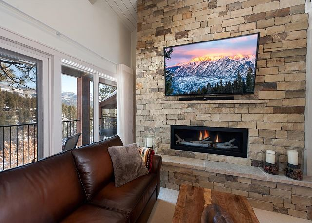 Living Area with Fireplace and Deck
