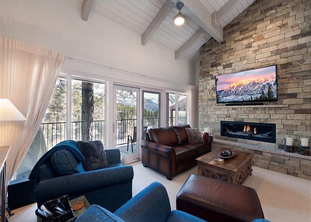 Living Room with Deck and Fireplace